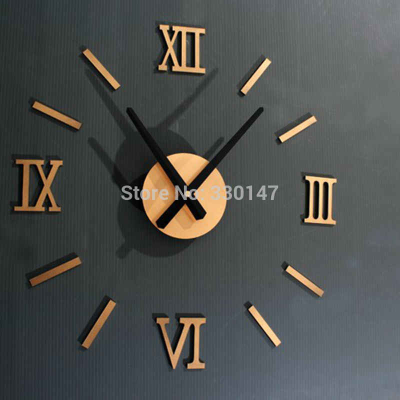 Rome Digital Number wall clock diy 3d mirror Silent Clock Acrylic Brief Quieten DIY wall clock modern design Wholesale