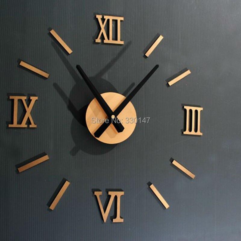Rome Numérique Nombre horloge murale diy 3d miroir Silencieux Horloge Acrylique Bref Quieten BRICOLAGE horloge murale design moderne En Gros