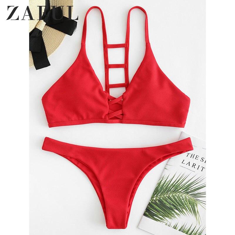 ZAFUL Ribbed Knit Underwire Bikini Push Up Swimwear Women Swimsuit Sexy Low Waisted Straps Thong Bikini Set Bathing Suit Biquni