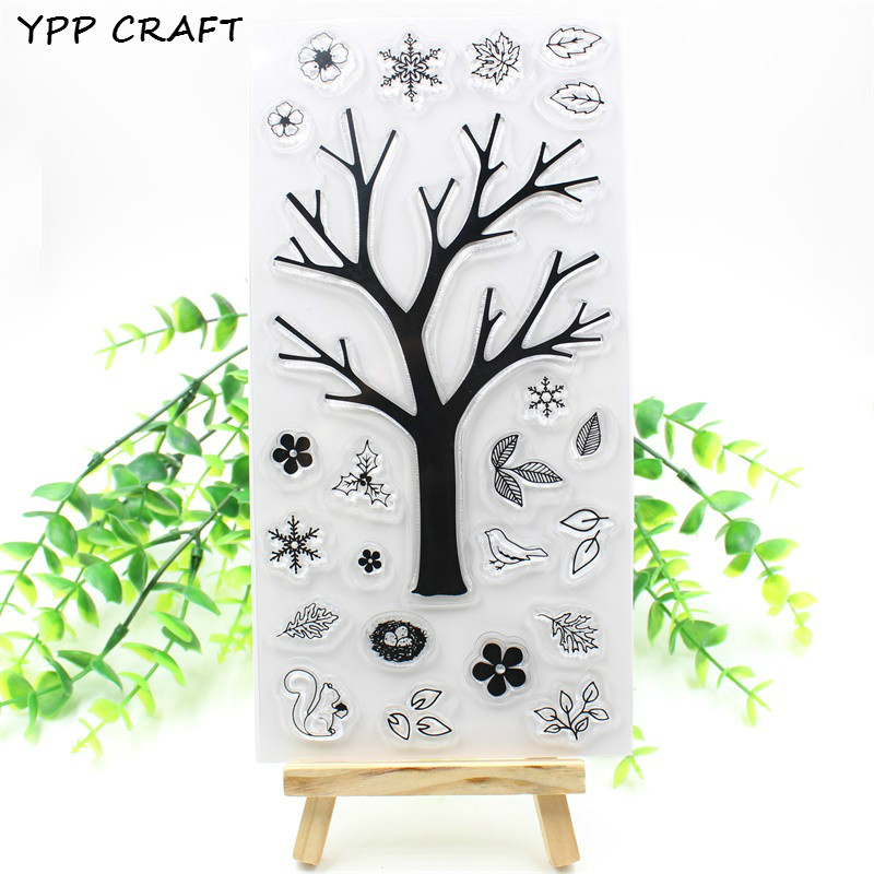 цены YPP CRAFT Tree Transparent Clear Silicone Stamps for DIY Scrapbooking Planner/Card Making/Kids Crafts Fun Decoration Supplies