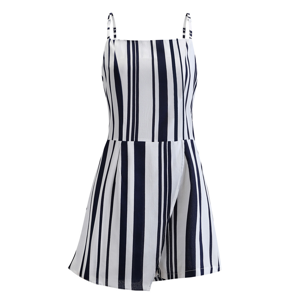Summer Chiffon Rompers Jumpsuit Women Summer Casual Striped Strap Sleeveless Playsuit Sexy Backless Shorts Overalls For Women Large Assortment Women's Clothing