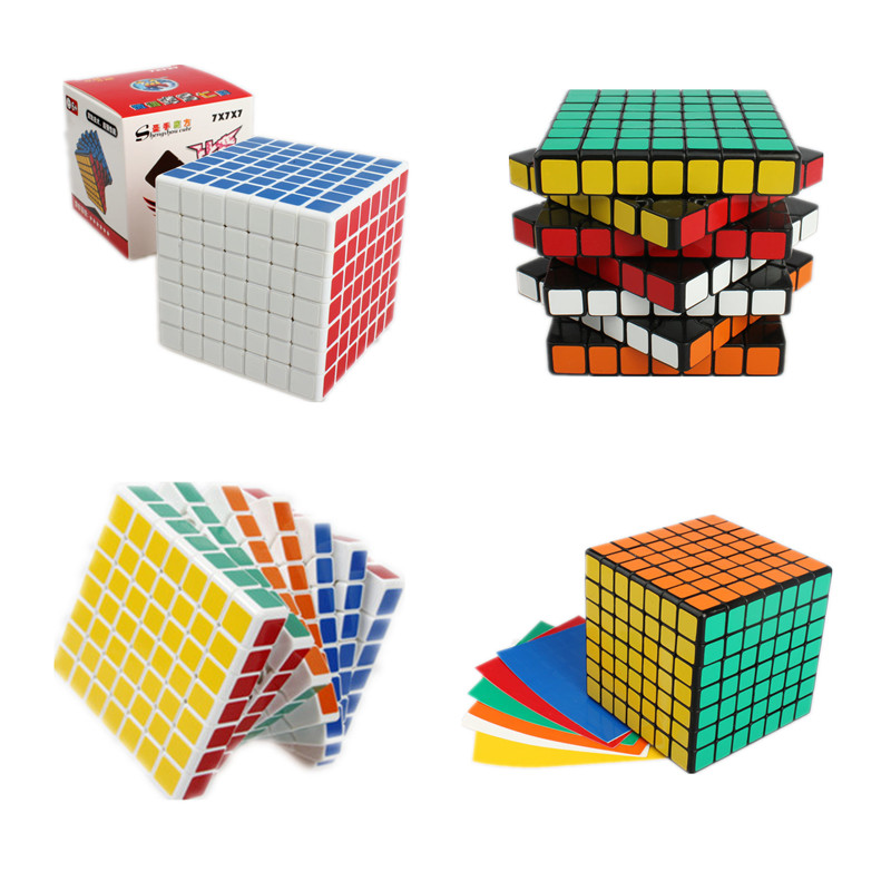 ShengShou 7x7x7 Square Magic Puzzle Cube 7*7*7 Speed Cube Blocks Black & White 77mm Cubo Magico with PVC Sticker for Kids Toys dayan gem vi cube speed puzzle magic cubes educational game toys gift for children kids grownups