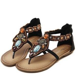Image 2 - Женские сандалии в богемном стиле GKTINOO, винтажные сандалии на плоской подошве с открытым носком, черные, коричневые шлепанцы, лето 2019