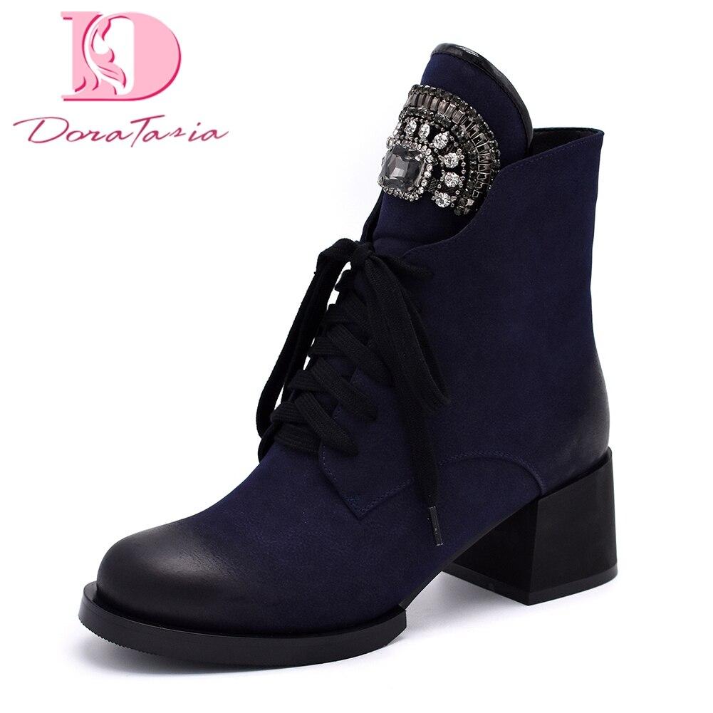 DoraTasia 2018 Large Size 35-42 Fashion western boot Shoes Woman Boots Square Heels Hot Sale Platform Ankle Boots Woman Shoes