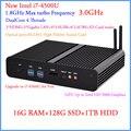 Mini PC Windows 7 com processador Intel Core i7 4500U 16 G DDR3 128 G SSD e 1 TB HDD 4 K 300 M WiFi + BT + IR + optical + DHL frete grátis 12 V Car PC