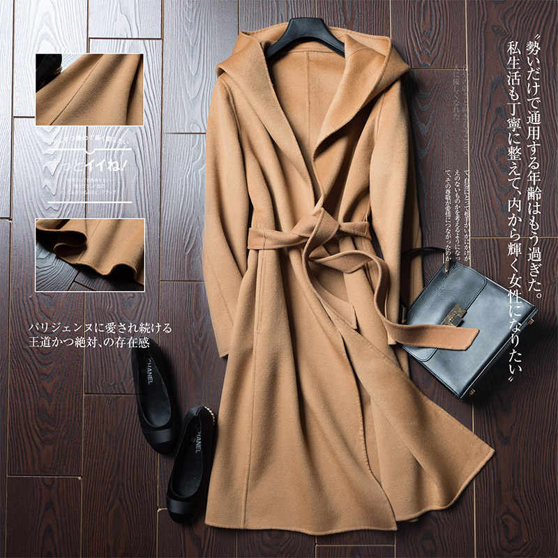 2019 Autumn Winter Pure Wool Coat It Moman Casual Hooded Cardigan Handmade Cashmere Double-Sided Jacket long coat women