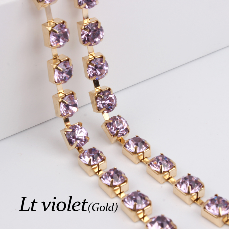 ⑧LT violeta ss28 sparse cadena del rhinestone oro cadenas taza 5 ...