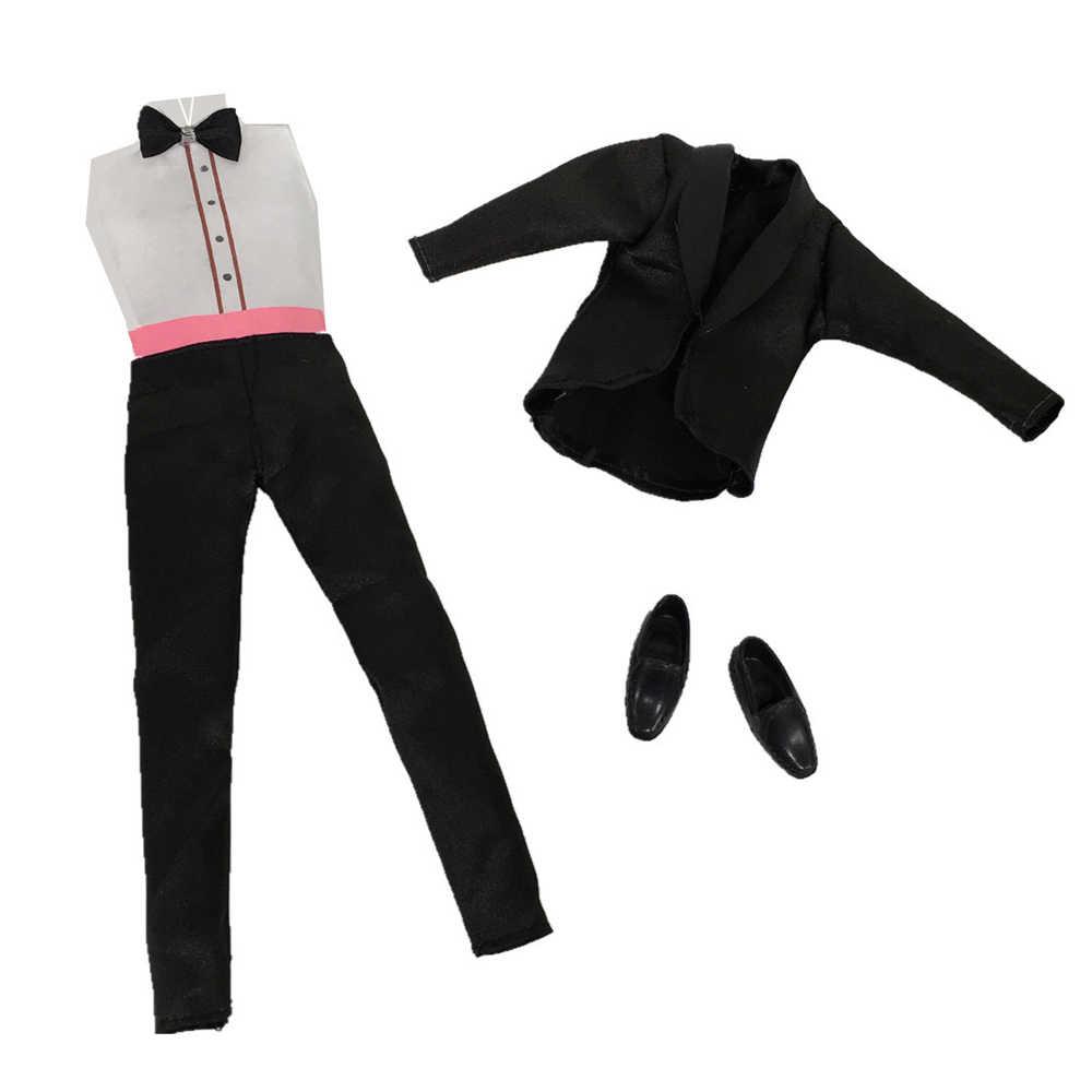 Besegad 3 комплекта мини Для мужчин Жених строгие свадебные костюмы Бизнес одежда пальто брюки рубашки Обувь Аксессуары для Барби Кен игрушка