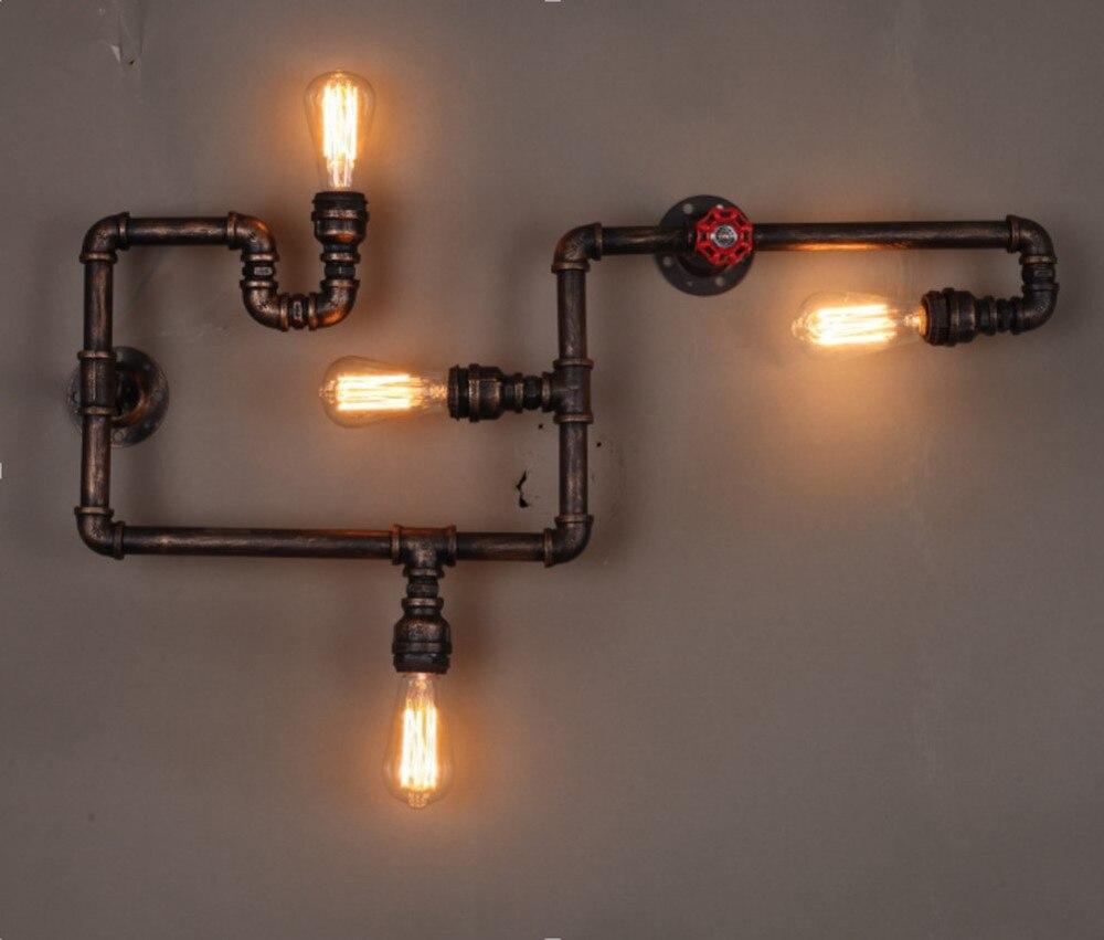 Loft Industrie 4 Lichter Eisen Rost Wasser Rohr Retro Wand Lampe Vintage E27 Wandleuchte Fr