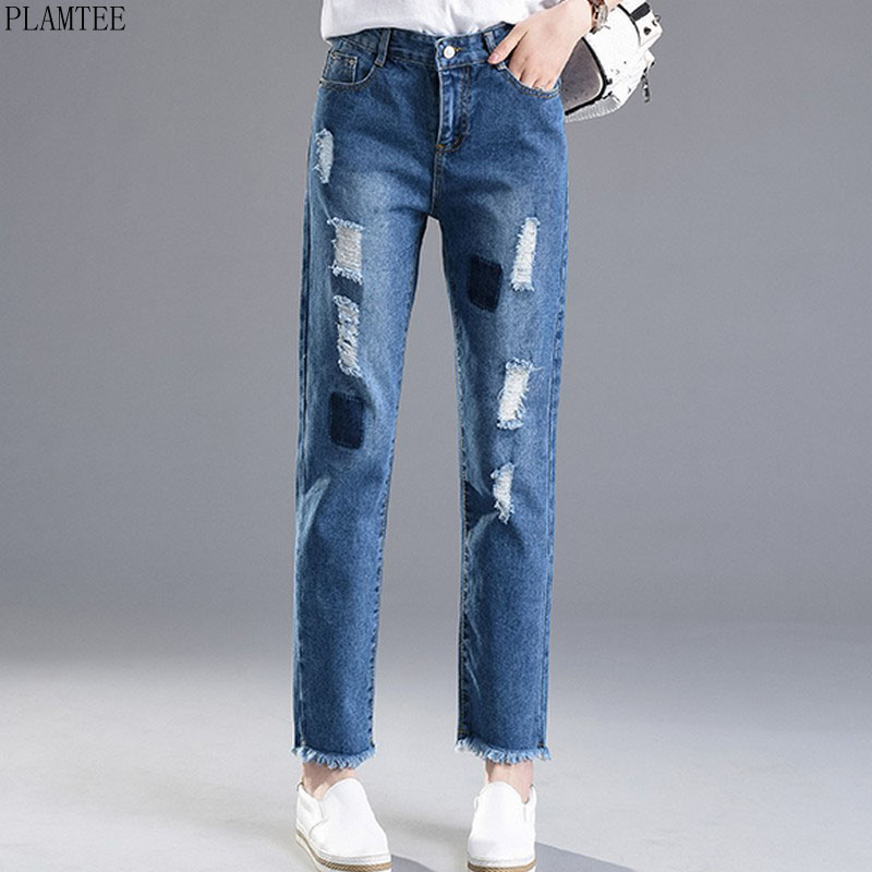 PLAMTEE Boyfriend Ripped Jeans For Women 2017 Casual Burr Fringe Vaqueros Mujer Trousers For Lady Ankle-Length Pantalon Femme f09166 10 10pcs cx 20 007 receiver board for cheerson cx 20 cx20 rc quadcopter parts
