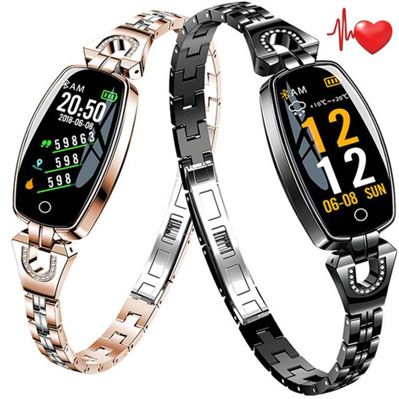 Mode Femmes Montre Smart Watch Coeur de La Pression Artérielle Taux Sommeil Moniteur Podomètre Smartwatch Pour IOS Android Téléphones