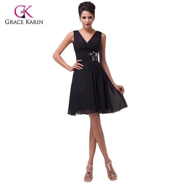 Online Shop 2018 Fashion Design Grace Karin V-neck Black Prom ...