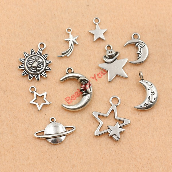 Mixed tibetan silver plated moon star sun charms pendants jewelry mixed tibetan silver plated moon star sun charms pendants jewelry making handmade accessories diy m030 in charms from jewelry accessories on mozeypictures Images