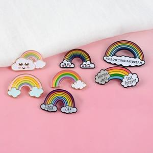 IK Kan Zien De Regenboog! Volg Uw Dagdroom Stormen niet Eeuwig Duren Kleurrijke Harde Emaille Pin Denim Badge Kids Vrienden Geschenken(China)