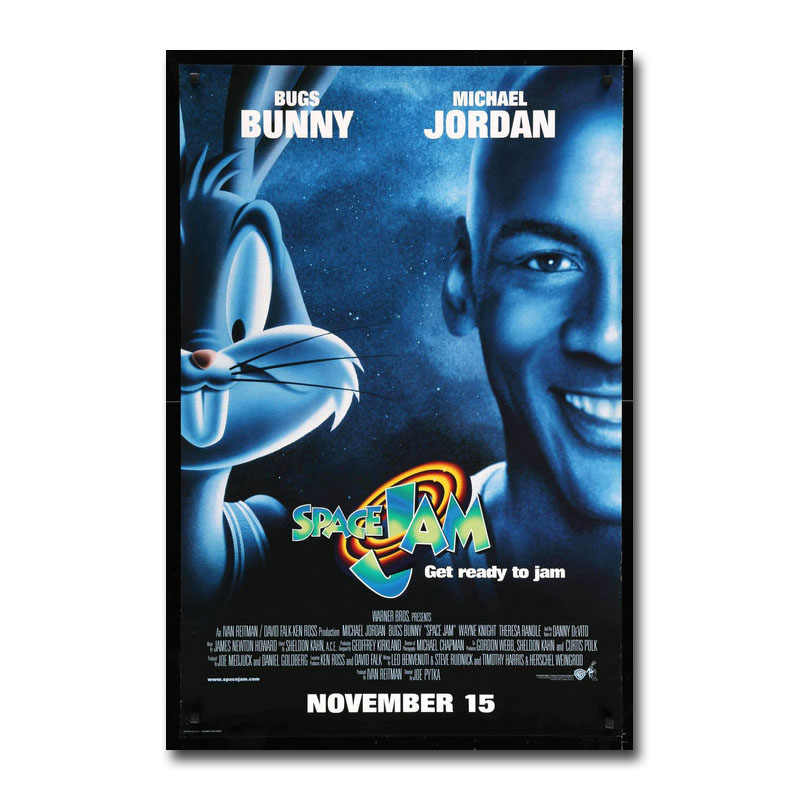 Art Zijde Of Canvas Print Space Jam 1996 Michael Jordan Hot Movie Poster 13X20 24X36 Inch voor Room Decor Decoratie-001