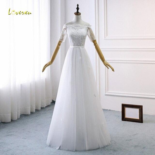 Simple Wedding Dresses Boat Neck: Loverxu Vestido De Noiva Boat Neck Beach Wedding Dresses