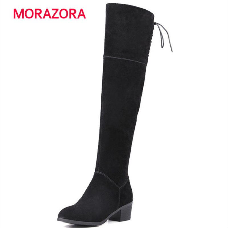 MORAZORA 2018 new autumn winter square heel cow suede leather boots round toe high heel over the knee boots zipper women boots morazora autumn winter new arrive women boots pointed toe zipper flock ladies boots square heel cross tied over the knee boots
