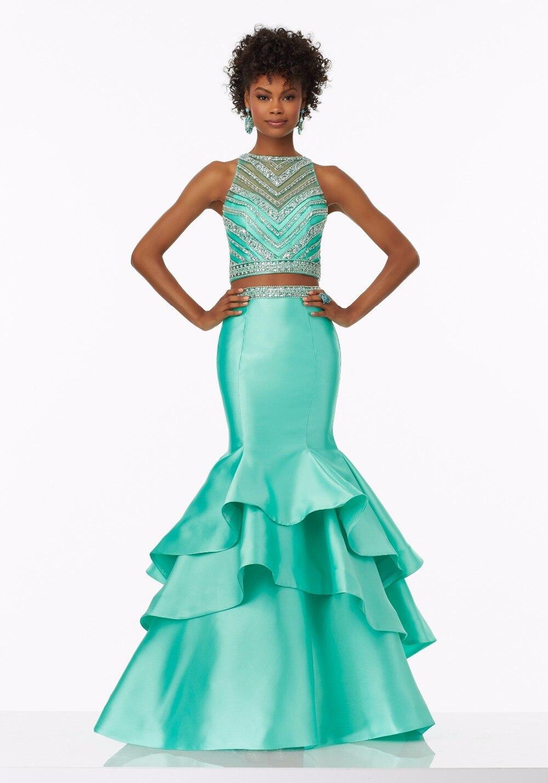 Menthe 2 pièces sirène robes de bal 2019 perlé haut sans manches moderne Fuchsia robes de bal adolescents formelle lilas robe formelle