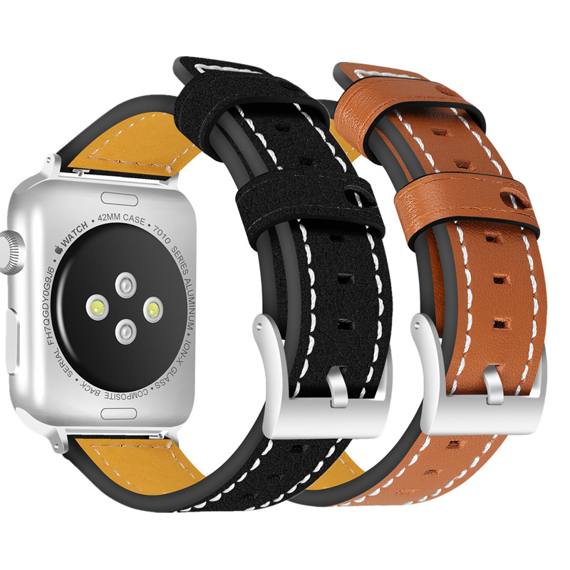 ASHEI Leather Band for Apple Watch 38mm 42mm Watchbands Replacement Bracelet Wirstband Strap for iWatch Series 3/2/1 watchbelt eache 38mm 42mm dark brown replacement watch straps fit for apple watch vegetable tanned leather watch band for women or man