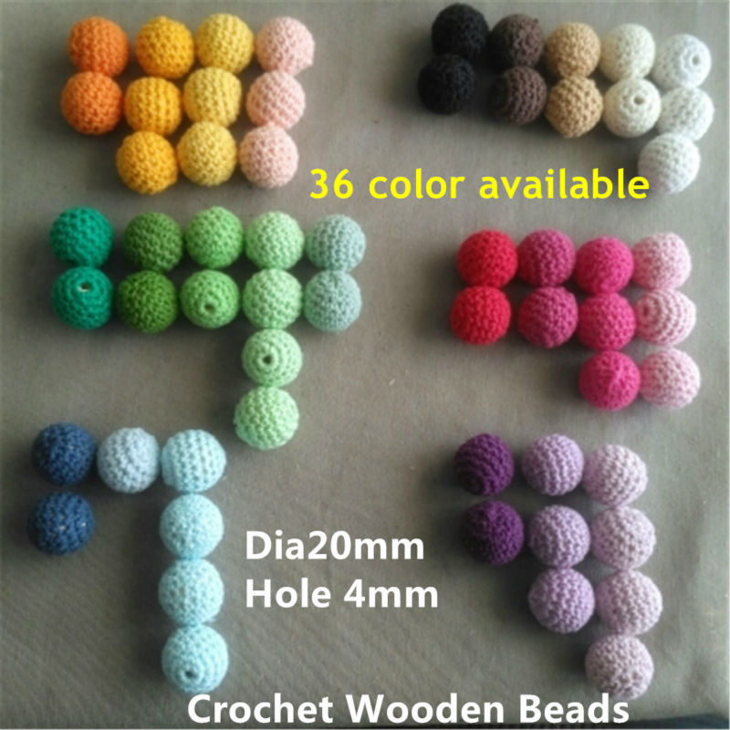 200pc/lot 20mm Crochet Round Knitting Wooden Beads Balls For DIY Decoration Baby Wooden Teething Jewelry Necklace Bracelet