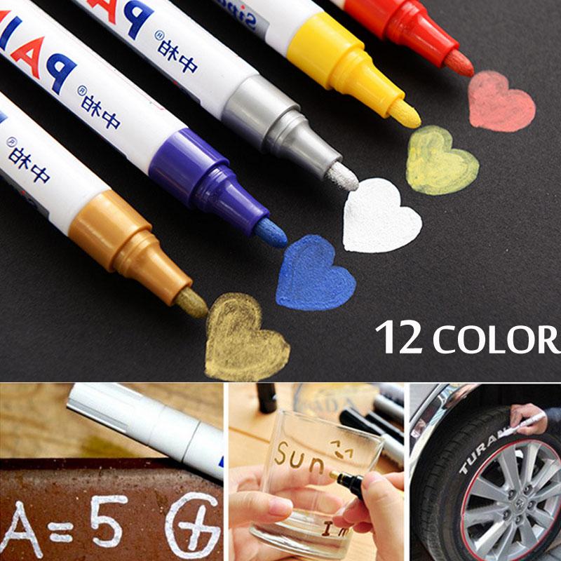12 Colors Waterproof Car Tyre Permanent Paint Marker Tire Tread Rubber Metal Scrawl MarkerPen Rotuladores Permanentes Nails