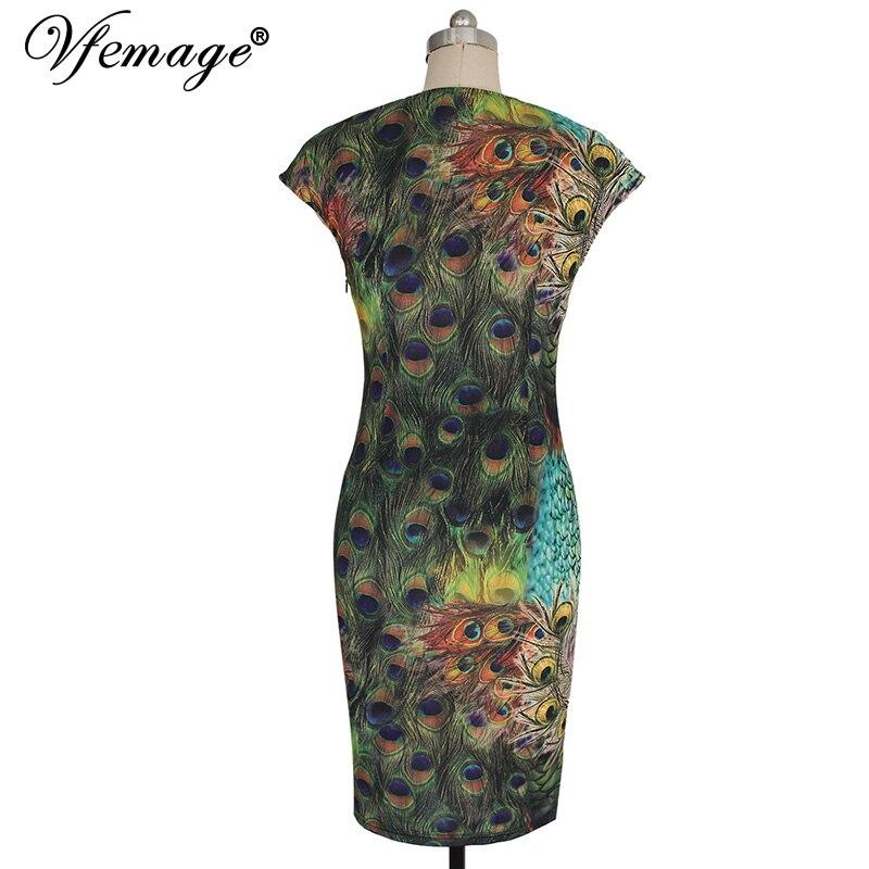 vfemage женская элегантный старинный павлиньи перья распечатать ретро Кап рукавом vestidos повседневная вечера партии оболочка платье bodycon 3926