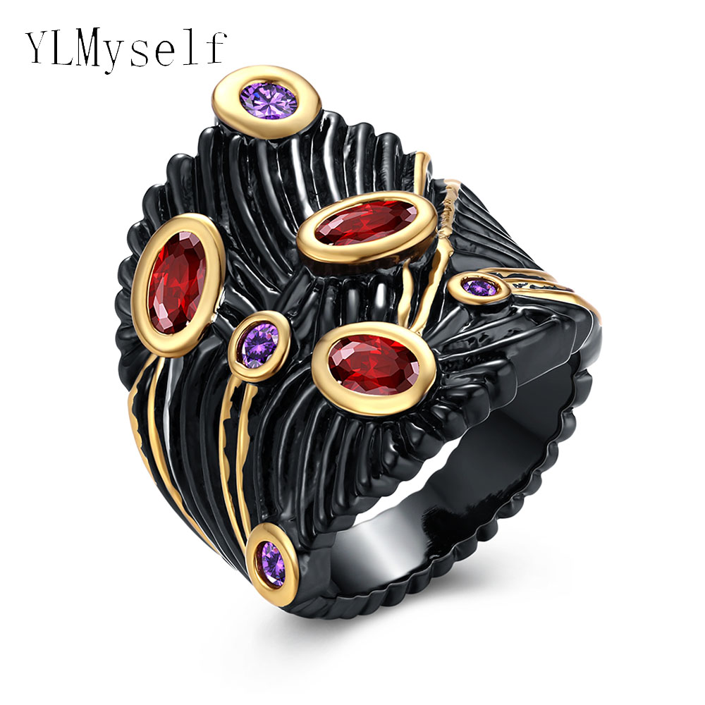 Fashion female black Jewelry Irregular Oval Red and Round Purple CZ Crystal Gift Rings for women Beautiful New Hot trendy Ring