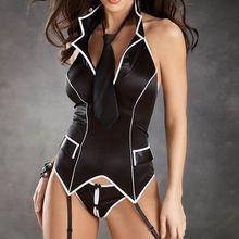 Новая горячая распродажа; красивые черные современные с отложным воротником; платье с лямкой на шее вечерний 3S1325 Хэллоуин сексуальный костюм для секретаря для Для женщин