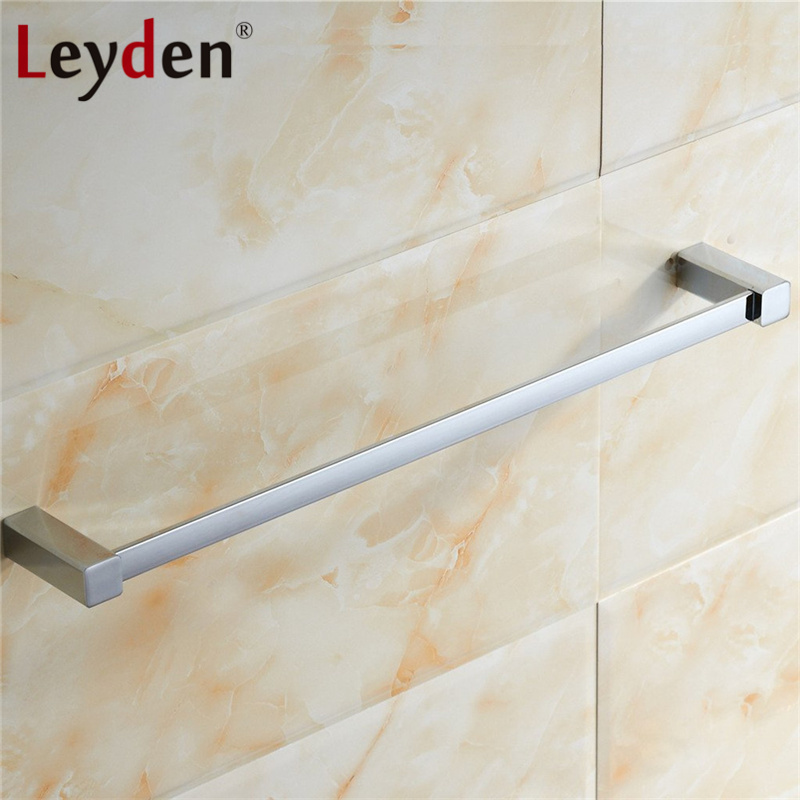 Leyden Hot SUS 304 Stainless Steel Single Towel Holder Towel Rail Chrome Wall Mounted Square Towel Bar Rack Bathroom Accessories