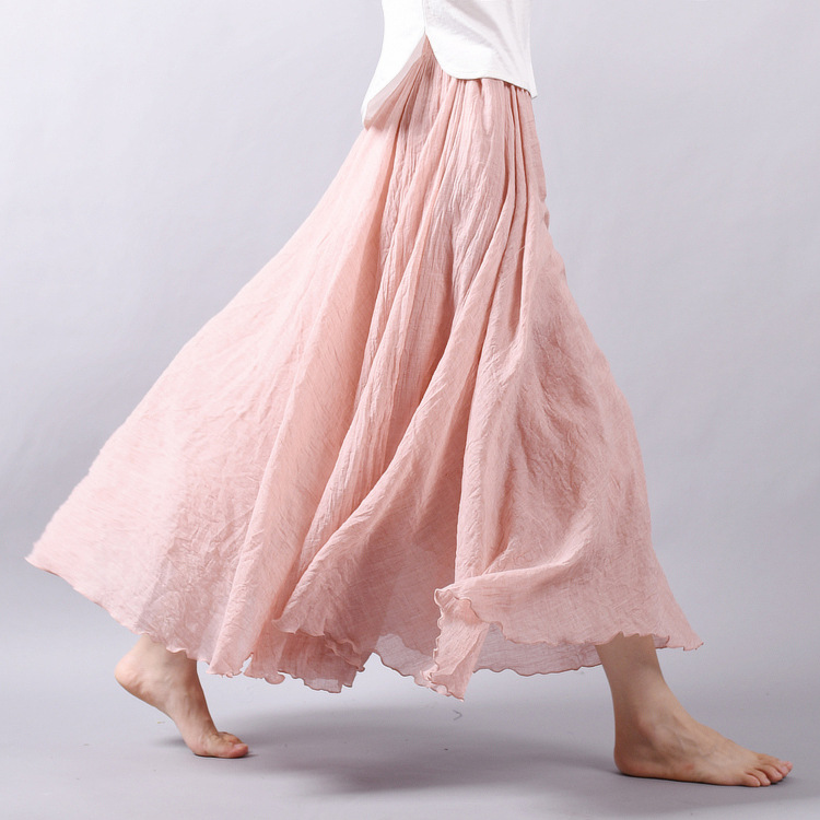 Sherhure 19 Women Linen Cotton Long Skirts Elastic Waist Pleated Maxi Skirts Beach Boho Vintage Summer Skirts Faldas Saia 8
