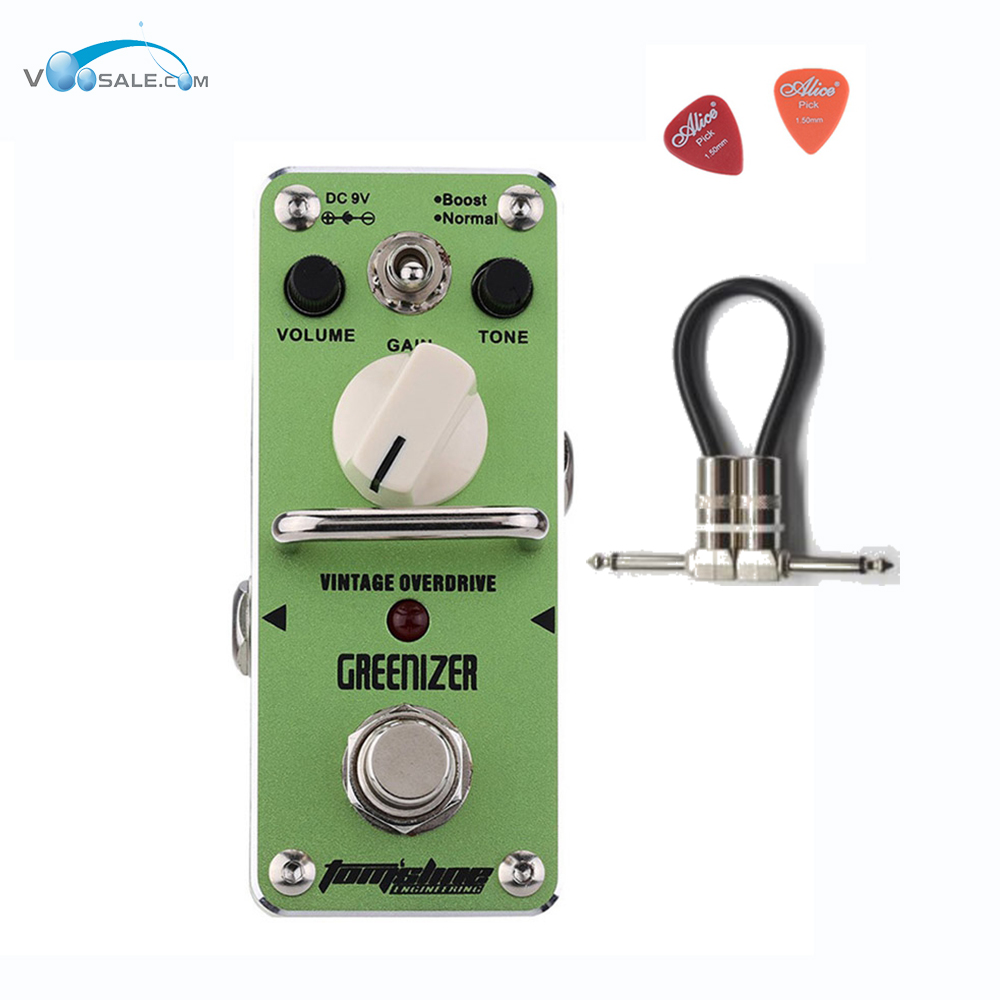 AGR-3 GREENIZER Vintage Overdrive Guitar Effect Pedal Aroma Mini Analogue Guitar Accessories With True Bypass + Free Cable aroma adr 3 dumbler amp simulator guitar effect pedal mini single pedals with true bypass aluminium alloy guitar accessories