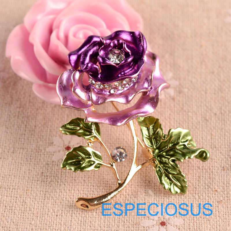 Elegance ดอกไม้ Rhinestone แฟชั่นเครื่องประดับสีม่วงสี Rose Rose Gold สียีราฟ Breast โลหะ PIN Lady เสื้อผ้า