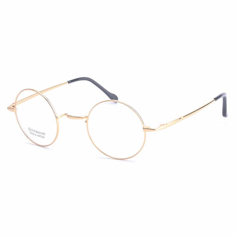 f3fa481ce7a ... Viodream New Fashion wizard 100% pure Titanium Eyeglasses Frames Men  women round Eyeglasses Gold Glasses