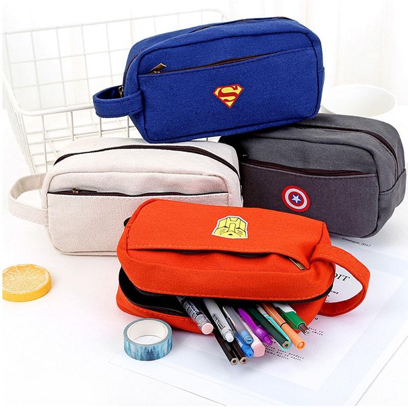 Superhero Cartoon Korean Canvas Pencil Case Boy School Creative Big Large Capacity Side Zipper Cute Pencil Bag Box Stationery
