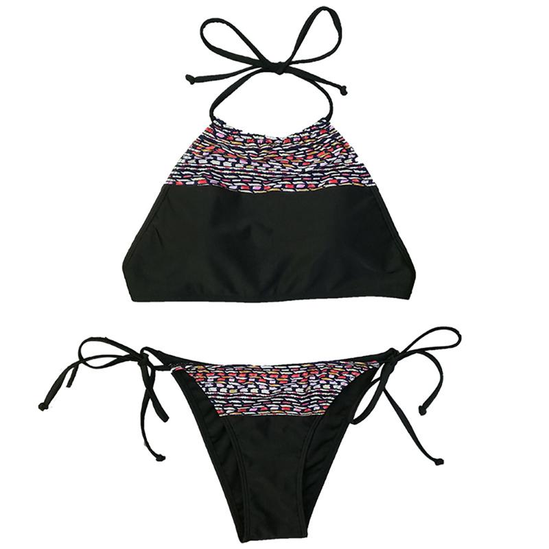 Halter Strappy Two Piece Thong Bikinis Set Brazilian Spliting Swimwear Female 2019 Combined Triangle Seaside Bathing Suit Women in Bikinis Set from Sports Entertainment
