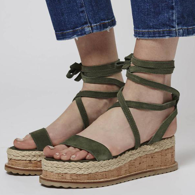 5e8b3abe0764 dwayne Teahoo 2018 Summer Ankle Strap Wedges Espadrilles Open Toe Gladiator  Sandals Women Lace up Platform Sandals Fashion Shoes