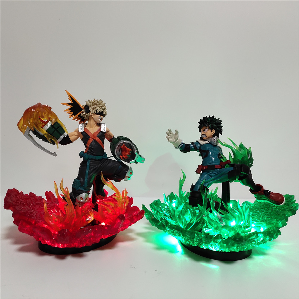 My Hero Academia Action Figure DIY LED Lamp Bakugou Katsuki VS Midoriya Izuku PVC Model Boku no Hero Academia Action Toy Figures