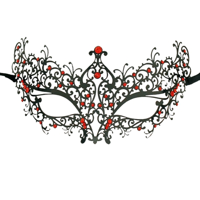 Удивительные маски венецианских маскарадов качества венецианские черные винтажные серебряные блестящие металлический лазерный разрез Вечерние Маски драгоценные камни - Цвет: BK metal red gems