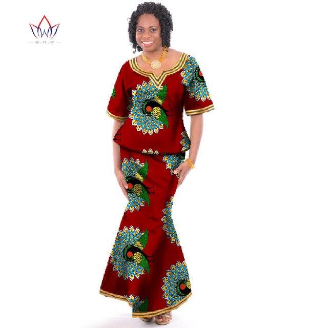 1efa0df20 2017 Vestido Estampado Africano Culturas Tops   Conjunto Saia Custom Made  Tradiional Africano Mulheres Roupas Femininas