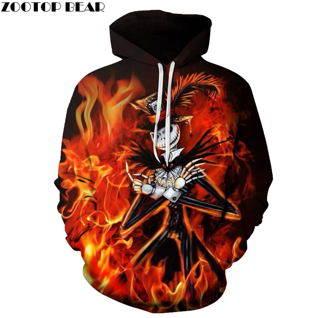 Hallowee Fire Skull Hoodies Sweatshirts Mens Hoodie 3d Tracksuit Men's Sweatshirt Pocket Pullover Coats Drop Ship  ZOOTOP BEAR