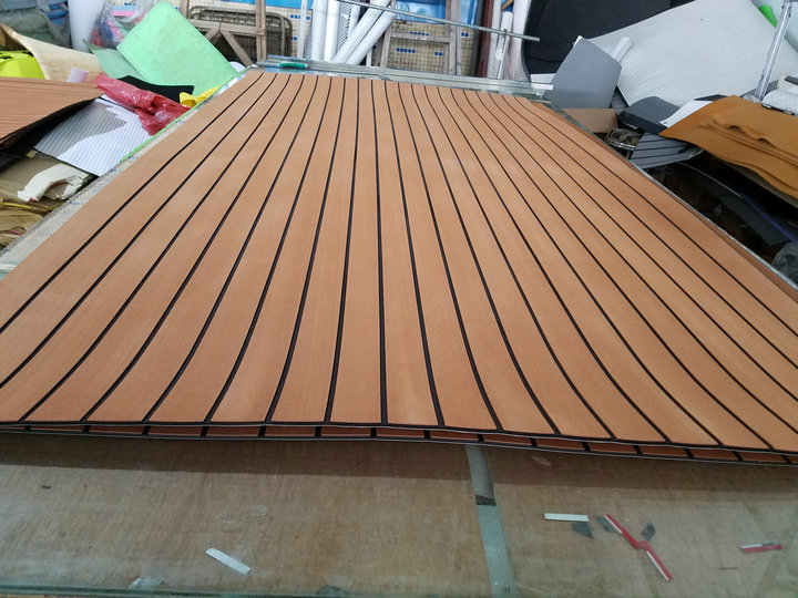 Marine Boat Eva Teak Decking Sheet Dark Brown With Black