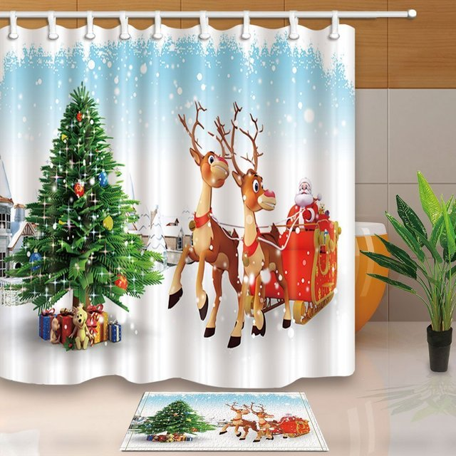 Christmas Bath Decor Cartoon Santa Claus Driving Reindeer Against