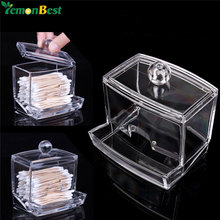 1Pcs Q-tip Clear Acrylic Holder Storage Box Cotton Swabs Stick Cosmetic Makeup Cotton Organizer Women's Powder Box With Lid