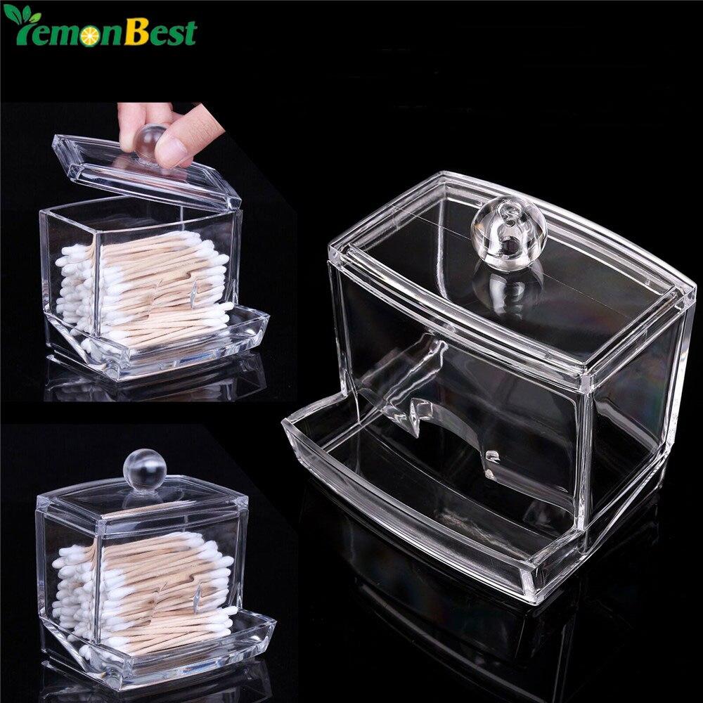 1Pcs Q-tip Clear Acrylic Holder Storage Box Cotton Swabs Stick Cosmetic  Makeup Cotton Organizer