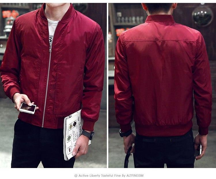 2019 Baseball Jacket Men Spring Autumn Casual Solid Fashion Slim Ma 1 Zipper Bomber Jackets Men Overcoat Mens Thin Pilot Jackets