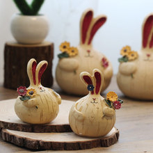 Vintage Home Decor Rabbit Miniature Figurines Resin Cute Ornaments Desk Decoration
