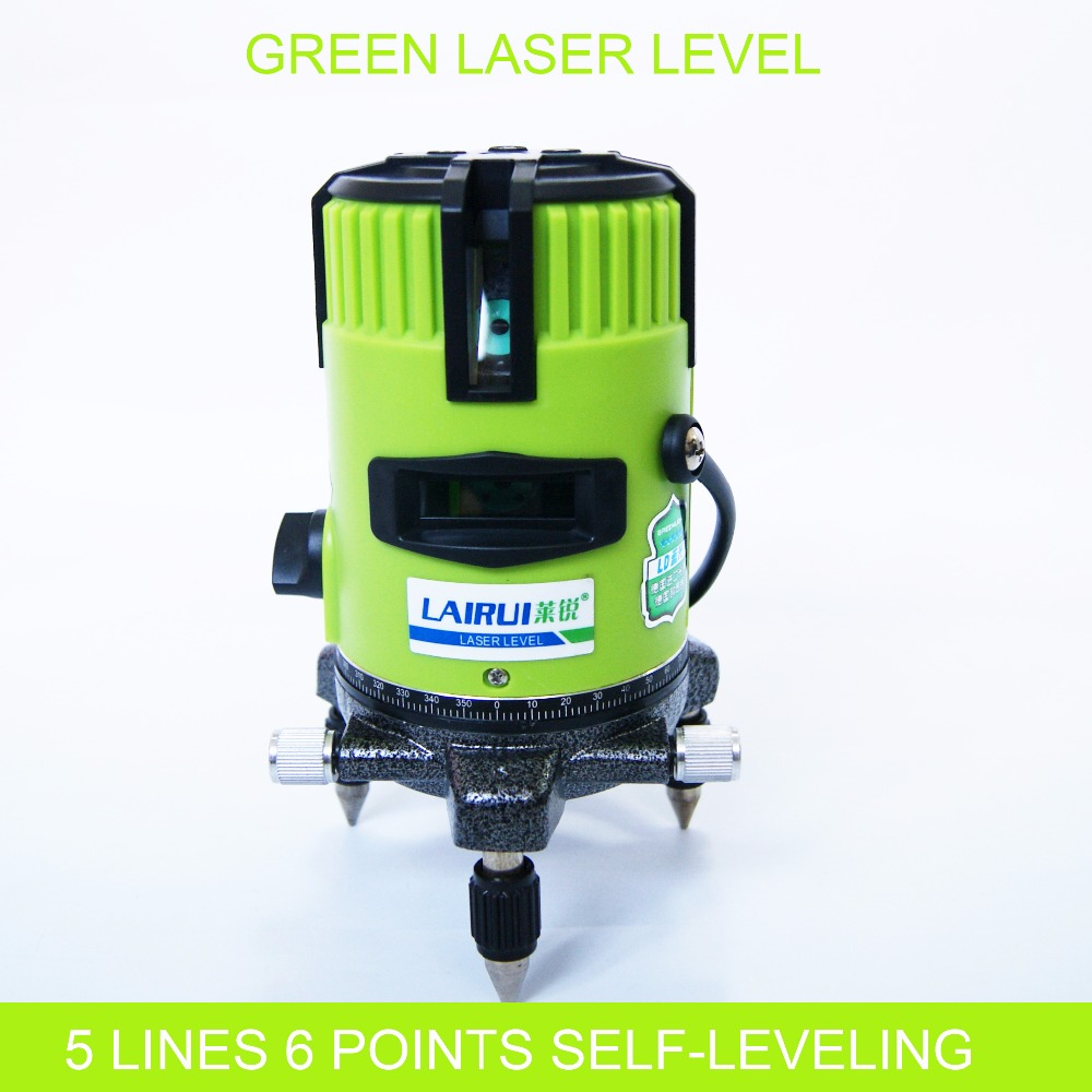 5 lines 6 points red green laser level 360 degree rotary cross laser line level with