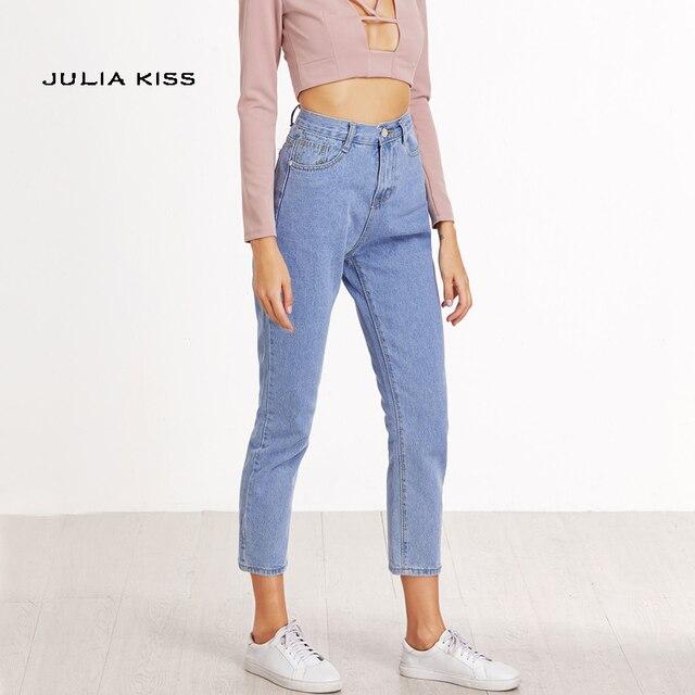 spesso Donna Casual Jeans A Vita Alta pantaloni di Lunghezza Della  GF87