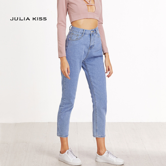 326ce7913778 Mulheres Jeans Casual Calça Jeans Mãe Comprimento do Tornozelo Cintura Alta  calças de Brim Azul Do