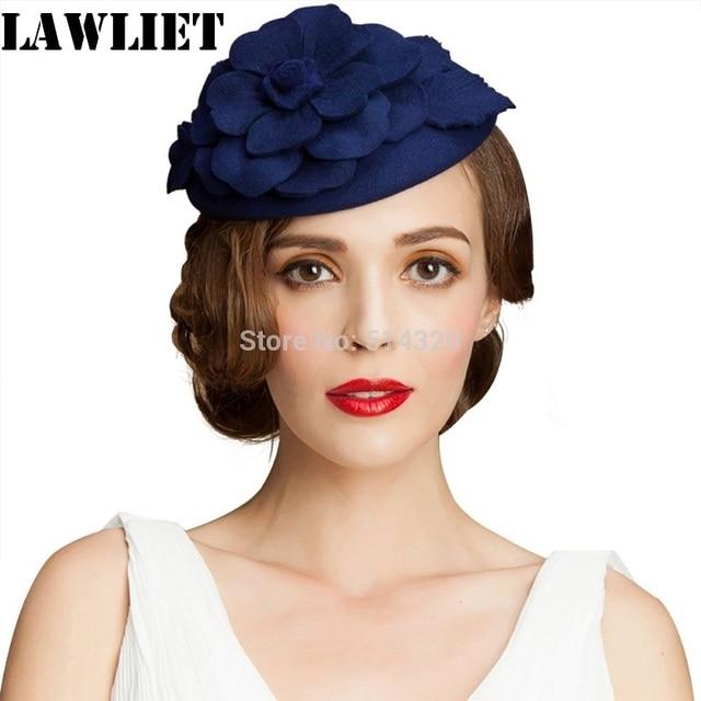 da5a0e749fed86 A083 Blue Flower Womens Dress Vintage Fascinator Wool Pillbox Hat Party  Wedding New